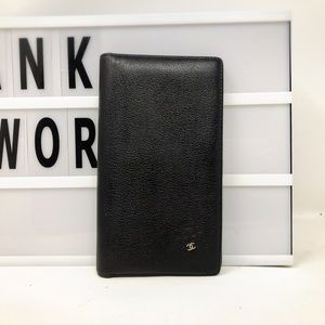 Chanel Camellia CC black leather Long wallet